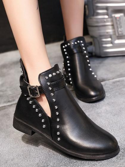 Black Stud Detail Buckle Strap Ankle Boots