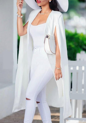 DaysCloth White Plain Irregular Sleeveless Casual Cape Fashion Poncho Jacket Suits Coat