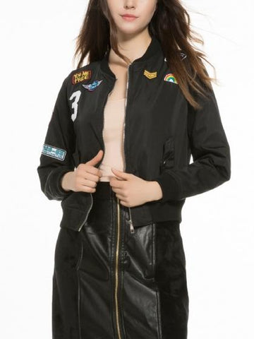 Black Patches Detail Zip Up Bomber Jacket