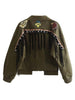 DaysCloth Army Green Embroidery Patches Tassel Back Jacket