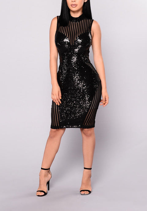 DaysCloth Black Patchwork Sequin Grenadine Glitter Bodycon Clubwear Party Midi Dress