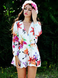 White Floral Print Long Sleeve Romper Playsuit