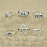 Vintage Silver Arrow Shape Ring Set Midi Rings 6 PCS