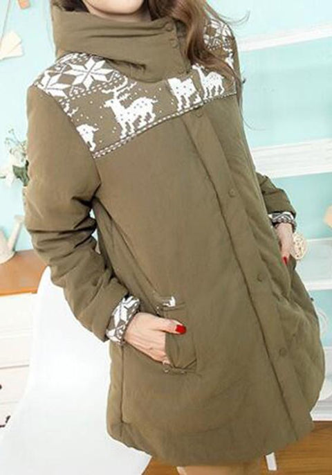 DaysCloth Army Green Floral Pockets Hooded Long Sleeve Maternity Coat
