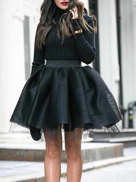 New Black Patchwork Grenadine Pleated Tutu Homecoming Party Cute Elegant Mini Skirt