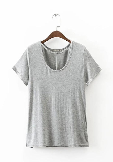 DaysCloth Grey Plain Cut Out Round Neck Short Sleeve Casual Oversized T-Shirt