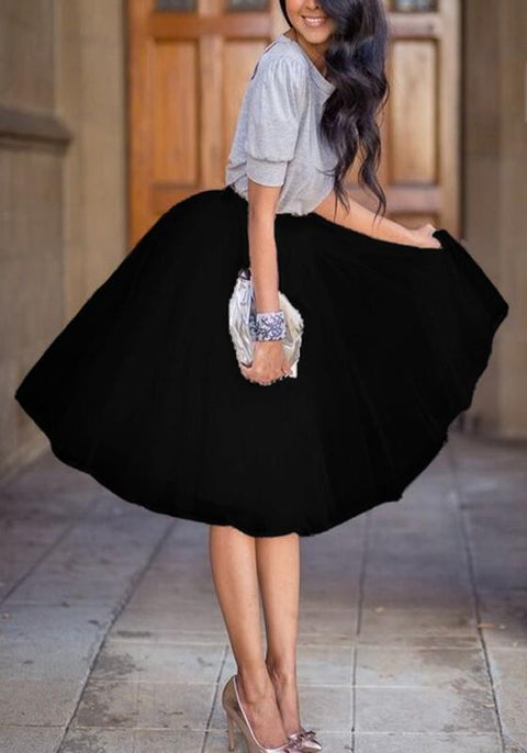 DaysCloth Black Plain Grenadine Pleated Elastic Waist Fashion Skirt