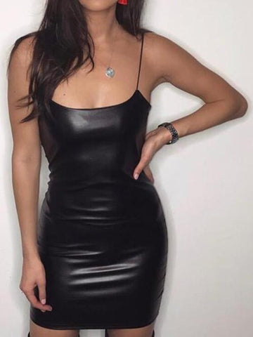 Black Leather Spaghetti Strap Bodycon Mini Dress