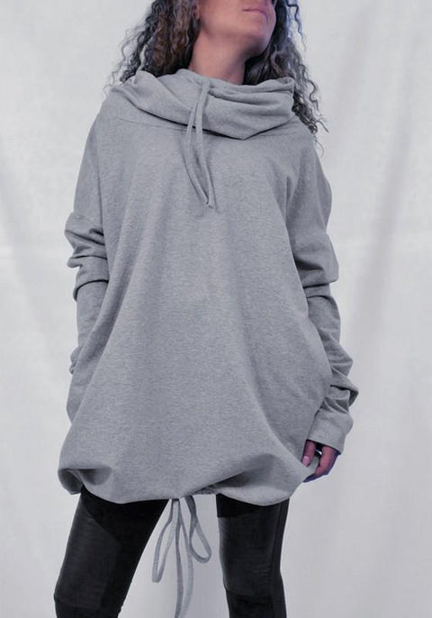 DaysCloth Grey Pockets Drawstring Hooded Long Sleeve Casual Pullover Sweatshirt