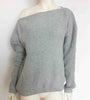 DaysCloth Open Shoulder Oversized Gray Knitted Sweater