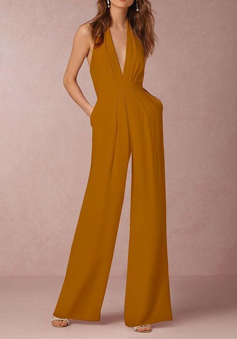 DaysCloth Orange Yellow Pockets Halter Neck Backless Deep V-neck Elegant Long Jumpsuit