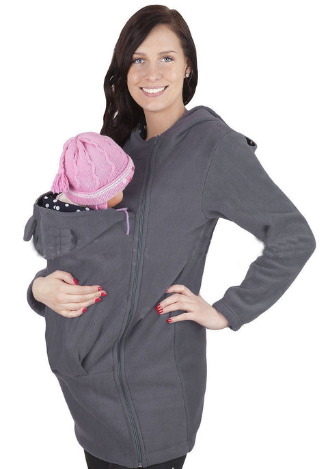 DaysCloth Grey Pockets Zipper Plus Size Multi-functional For Baby Hooded Kangaroo Cardigan Sweatshirt