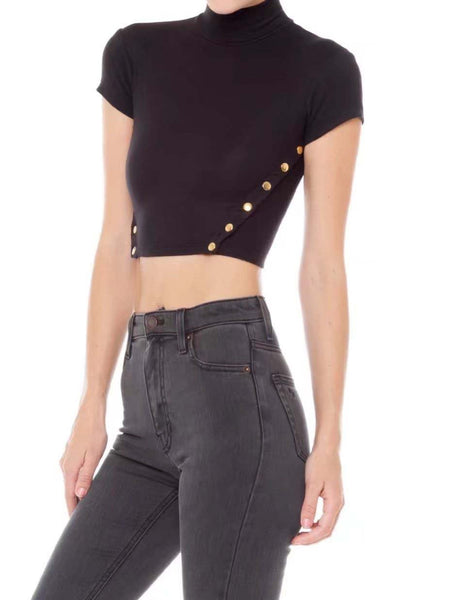 Black High Neck Split Button Side Cropped T-shirt