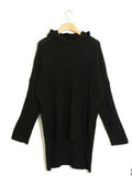 Black V-neck Hooded Knit Sweater