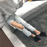 Blue Plain Hollow-out Ripped Boyfriend Casual Long Jeans