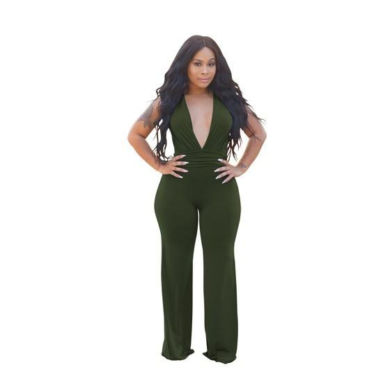Army Green Pleated Deep V-neck Sleeveless High Waisted Wide Leg Long Jumpsuit
