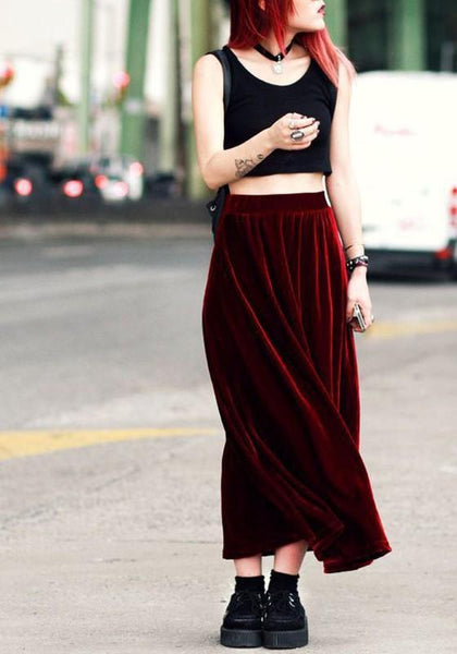 Burgundy Plain Pleated Draped Pleuche A-line Vintage Maxi Skirt