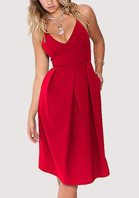 DaysCloth Red Pleated Pockets Cross Back Backless Sleeveless Midi Dress
