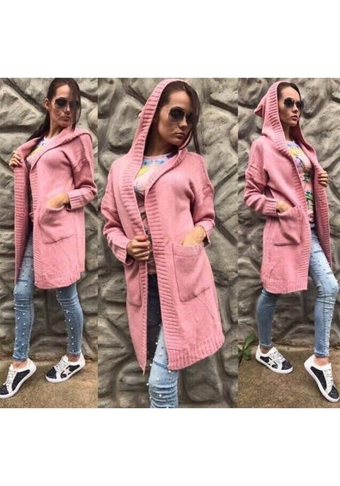 DaysCloth Pink Plain Pockets Hooded Casual Cardigan Sweater