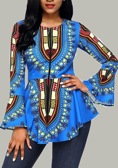 DaysCloth Light Blue Floral Round Neck Long Sleeve African Fashion T-Shirt