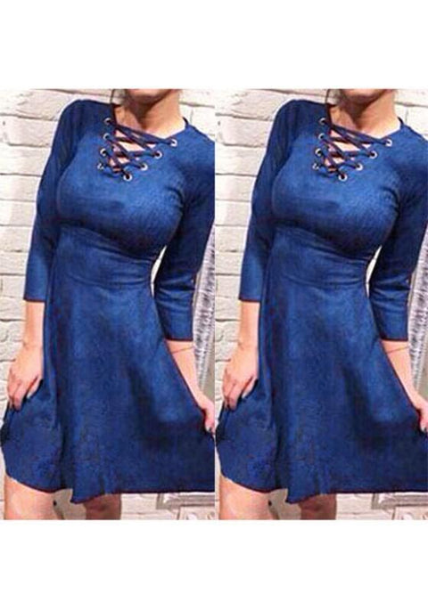 DaysCloth Blue Cut Out Draped V-neck Long Sleeve Lace Up Fashion Midi Dress