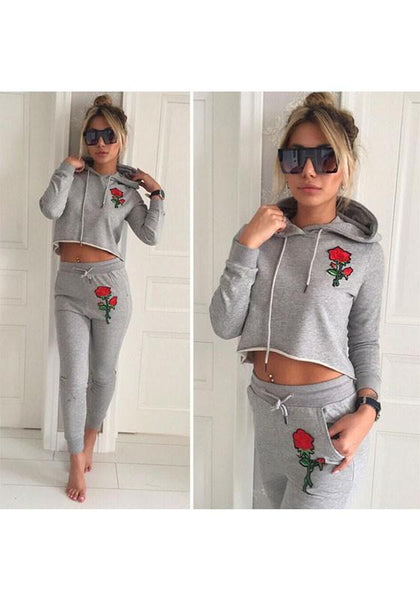 Grey Flowers Embroidery Hooded Drawstring Waist Long Jumpsuit
