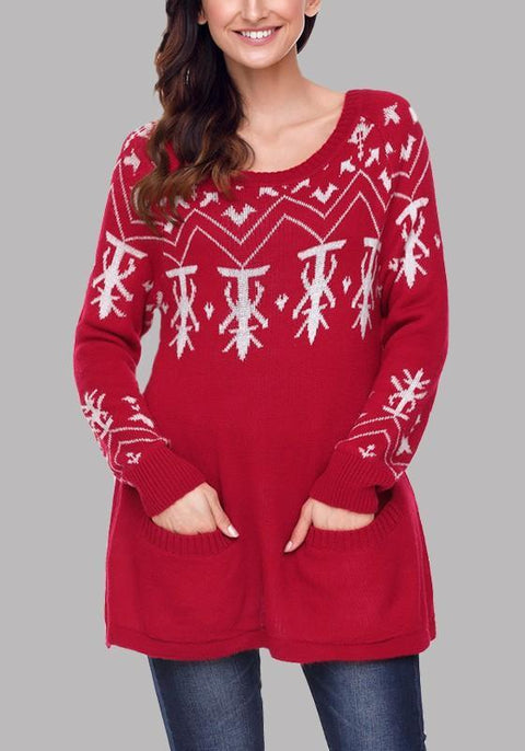DaysCloth Red Tree Pattern Pockets Long Sleeve Oversize Pretty Christmas Pullover Sweater
