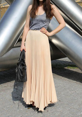 Apricot Pleated High Waisted Bridesmaid Homecoming Party Sweet Skirt