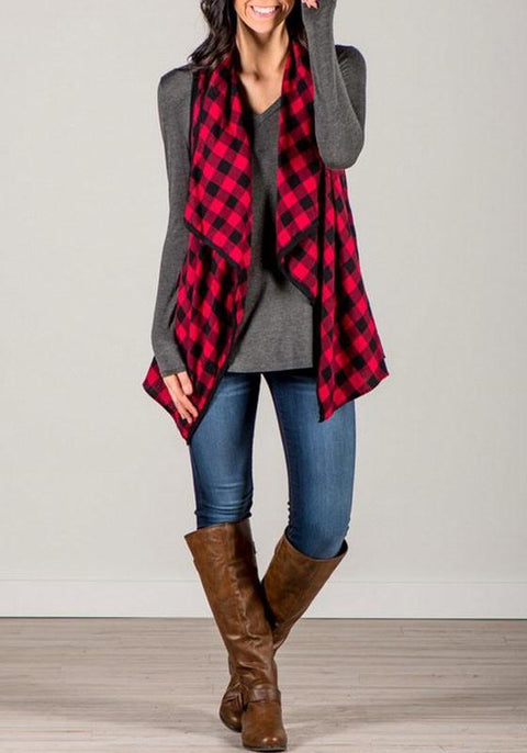 DaysCloth Red-Black Tartan Plaid Print Irregular Waterfall Low-High Casual Vest Coat