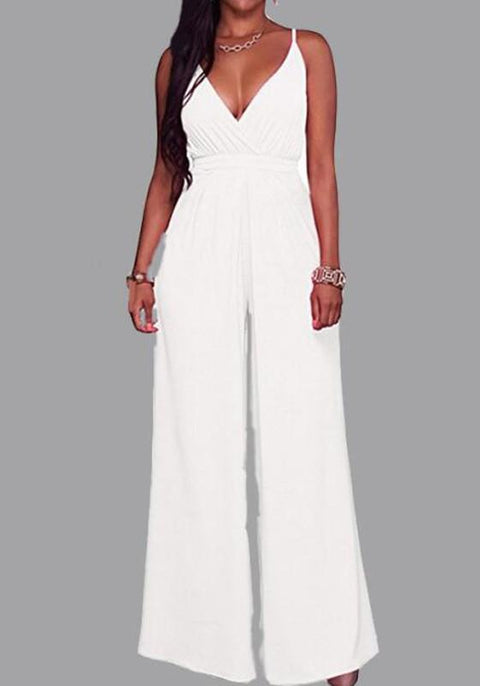 DaysCloth White Zipper Backless Spaghetti Strap Deep V-neck Wide Leg Long Jumpsuit