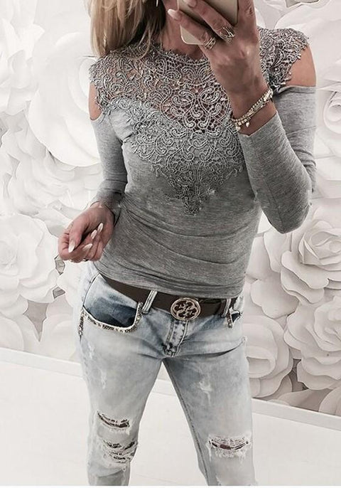 DaysCloth Grey Patchwork Lace Cut Out Round Neck Fashion T-Shirt