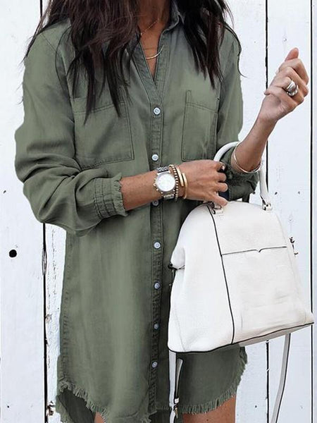 New Green Buttons Turndown Collar Long Sleeve Fashion Blouse