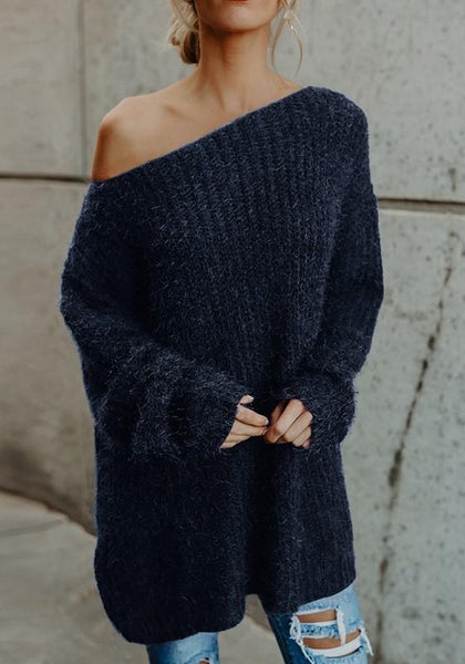 Blue Plain Asymmetric Shoulder Long Sleeve Casual Pullover Sweater