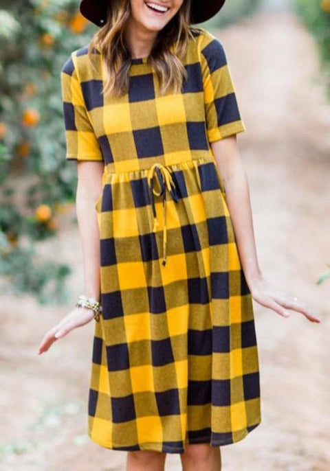 DaysCloth Yellow-Black Plaid Pattern Sashes Draped High Waisted A-line Casual Midi Dress