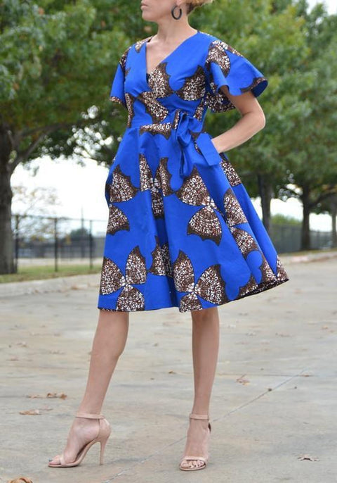 DaysCloth Royal Blue Tribal Floral Print Sashes Pleated High Waisted Elegant Party Midi Dress