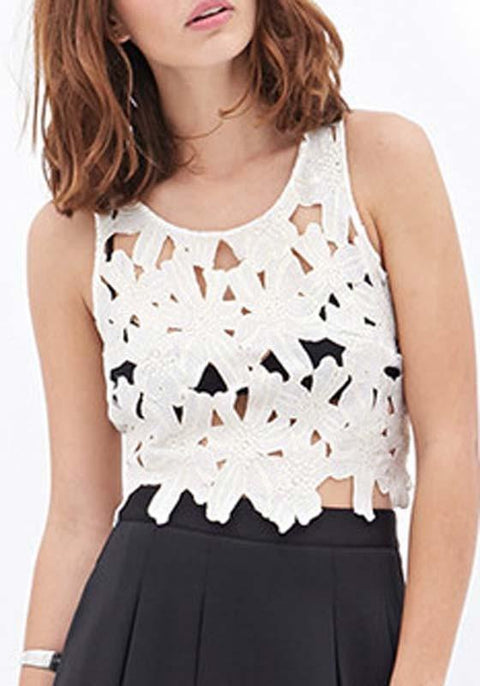 DaysCloth White Floral Cut Out Shoulder-Strap Sweet Going out Vest
