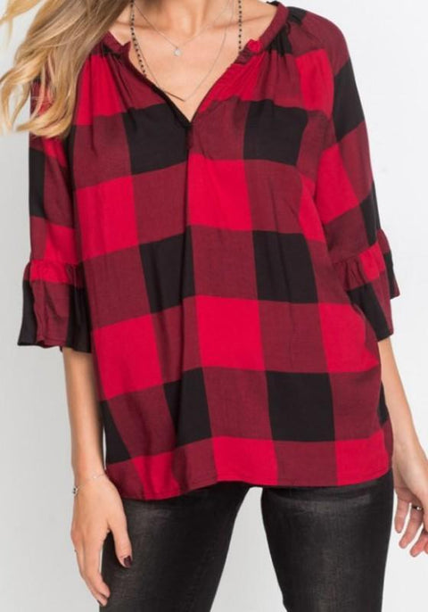 DaysCloth Red-Black Plaid 3/4 Sleeve Flare Sleeve V-neck Casual Oversized Blouse