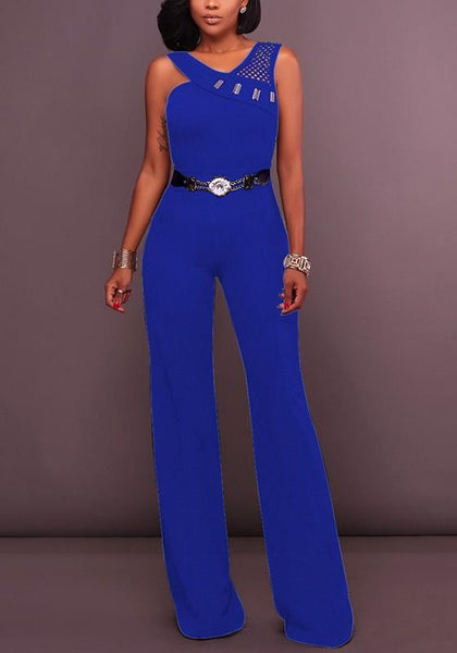 Blue Plain Cut Out Rhinestone Fashion Long Jumpsuit