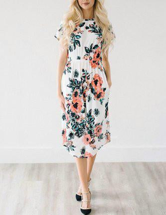DaysCloth Casual Daily Round Neckline White Floral Print Dress