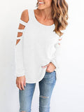 Casual Cold Shoulder Long Sleeve Top