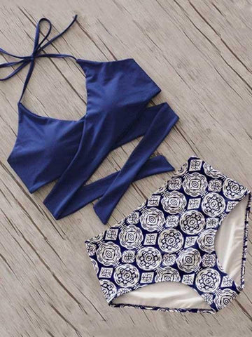 DaysCloth Fashion Cross High Waisted Floral Print Bikini Set