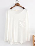 Casual Elegant Chest Pocket White Long Sleeve Top