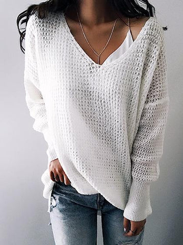 Street Fashion Knit V Neck Solid Color Loose Sweater