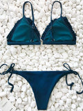 Summer Walk Bandage Tie Navy Bikini Set