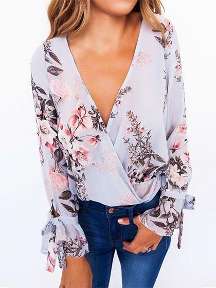 Sexy Floral Print V Neck Long Sleeve Blouse