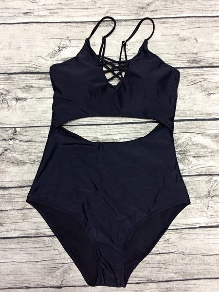 Black Strap Caged Open Belly One-piece Swimsuit