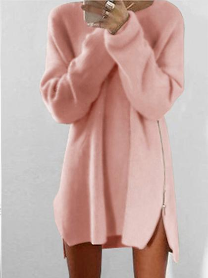 Casual  Zipper Solid Color Long Sleeve Sweater Dress