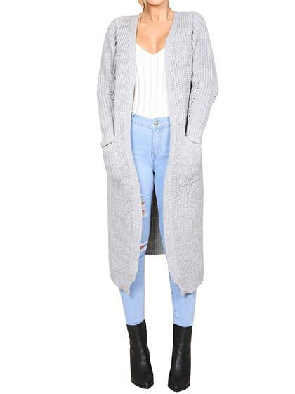 Fashion Knit Long Solid Color Cardigan