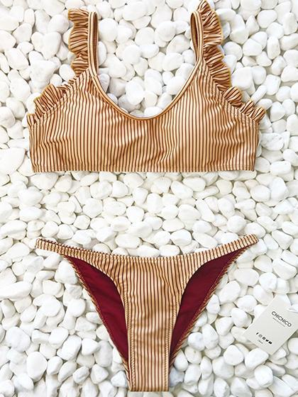 DaysCloth Instant Vacation Bandage Striped Bikini Set