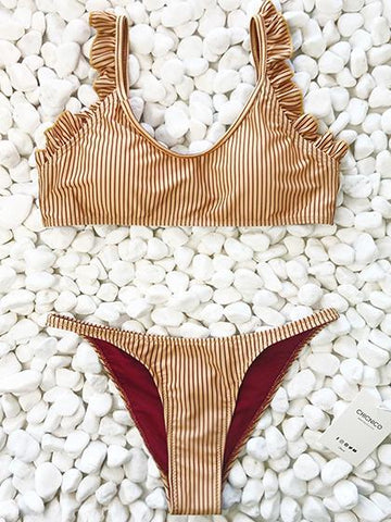 Instant Vacation Bandage Striped Bikini Set